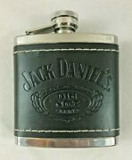Jack Daniels Old No. 7 Flask Embossed Black Leather-covered Stainless 5 Oz.