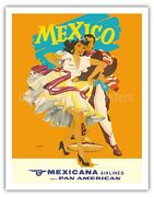 Mexico Mexicana Airlines Dancers - Wright 1950s Vintage Travel Poster Art Print