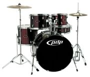 5 Pc Pdp Drum Set Black Cherry No Cymbals With Stands Pedal And Drum Sticks