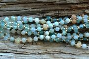 4mm Amazonite, Aquamarine And Teal Apatite With Gold Filled Tantric Necklace