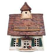 Vintage Windy Meadows Pottery Country School W/books Stoneware Cottage 295 Mint