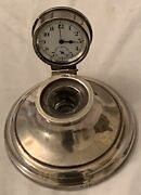 Antique Round Silver English Capstan Desk Inkwell With Clock Watch In The Inside