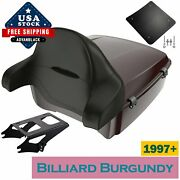 Billiard Burgundy King Tour Pack Black Hinges And Latch Fits Harley Touring 1997+