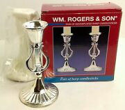 Silver 5 Tall Silverplated Harp Candlesticks Holder Set Of 2 Wm Rogers And Son