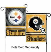 Pittsburgh Steelers 2 Sided Double Garden Flag Outdoor Window Banner 12 X18 New.