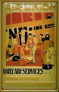 Air Union Daily Air Services Paris London Embossed Metal Advert Sign 30x20cm