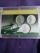 1943 P D S Steel Cents Wartime Case Flying Tigers Free Vial Of Gold Flakes.