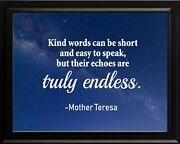 Mother Teresa Kind Words Can Poster Print Picture Or Framed Wall Art
