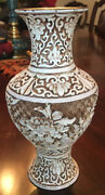 Antique/ Vintage Chinese Ivory And Brass Dynasty Vase 8 Tall Carved Floral