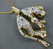 Large 1.48ct Diamond And Aaa Ruby 18k 2 Tone Gold Happy Panther Fun Pendant 27043