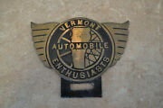 Vermont Automobile Enthusiasts Brass License Plate Topper