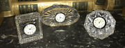 Set Of 3 Waterford Crystal Clocks Assorted Patterns