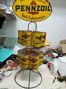 Vintage Advertising Pennzoil Metal Gas Oil Can Display Rack 2-sided With Oil Can