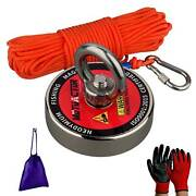 400lbs Strong Fishing Magnet Kit Underwater Neodymium Metal Recovery Detect Lift