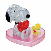 New - Bepuzzled 3d Crystal Puzzle - Peanuts Snoopy Heart 35 Pcs - Ages 12+