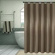 Taupe Striped Farmhouse Water-repellent Fabric Shower Curtain