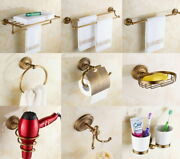 Antique Brass Wall Mounted Bathroom Accessory Kits Toilet Roll Rack Towel Holder