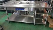 Custom Stainless Steel Table W/built-in Lti 3 Well Hot/cold 90