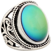 Women Vintage Statement Rings Mood Ring Changing Color Antique Sterling Silver