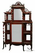 Antique Victorian Mahogany Stick And Ball Mirrored Cabinet Etagere