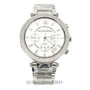 Mk5353 Parker Silver Chronograph Womenand039s Glitz Stainless Watch 39mm