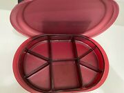Tupperware Cranberry Preludio Oval Sectioned Serving Relish Tray W Lid 2015