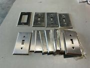 17x Stainless Steel Single Gang Toggle Wall Switch Plates W/no Screws Used