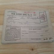 Vintage 1943 Wwii World War 2 Ration Book No 3 With 189 Stamps