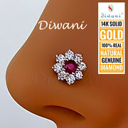 Real Diamonds And Ruby 7.5mm Flower Nose Pin Lip Labret Piercing Stud Screw Ring