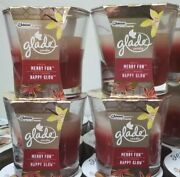 4 Glade 2-in-1 Jar Candle Air Freshener Happy Glow Merry Fun 3.4 Ounce