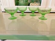 Lot 4 Vintage Antique Green Depression Glass Footed Sherbet Berry Dishes