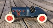 Cast Iron Blue Vintage 6 Race Car Pull Toy, Hood Door, 4 Remaining In Stock