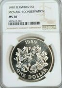 1989 Bermuda Silver 1 Dollar S1 Monarch Conservation Ngc Ms 70 Perfection