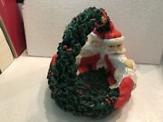 Dept 56 Two Headed Santa Basket/bowl With Handle