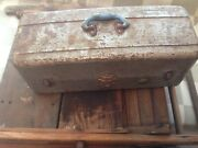 Rare Original Paint Old Antique Metal Fishing Tackle Box Union Steel Chest Usa