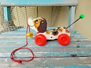 Vintage 1965 Fisher Price 693 Little Snoopy Pull Along Wood Dog -excellent