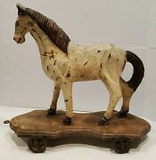 Antique Hand Carved Wooden Horse Pull Toy Late 19th Century Denmark