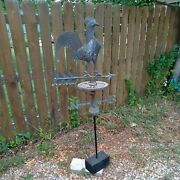 Antique 1860and039s Original Rooster Weathervane Arrow Copper Advertising Sign Rare