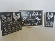 Country Farmhouse Decorative Black And White Rooster Moms Kitchen Decor