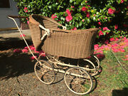 Antique Wicker Baby Stroller Ca 1920and039s Lloyd Loom Products