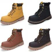 Mens Womens Leather Casual Ankle Boots High Top Combat Outdoor Shoes Waterproof