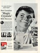 Vintage Advertising Print Dairy Carnation Magic Crystals Milk Discovery 1956