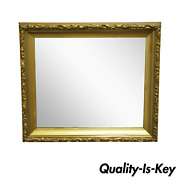 Antique Gold Giltwood Gesso 30 French Victorian Deep Frame Wall Mirror