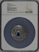 Art Jain Temple India 2016 2oz Silver Coin 10 Ngc Ms 70 Antiqued