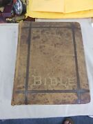 Antique 1895 Leather Bound Pictorial Family Holy Bible Desmond Publishing Co.
