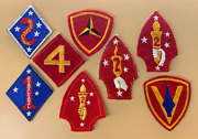Wwii Lot Of Nine Original Marine Corps. No Glow Patches 1st 2nd 3rd 4th 5th Div/