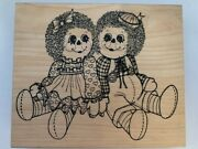 New Large Wood-mounted Raggie Ann And Andy Rubber Stamps Crafting Stamping