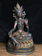 20 Chinese Handed Down Antiques Copper Green Bodhisattva Guanyin Buddha Statue