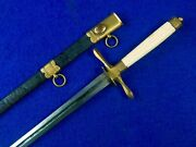 Antique Us Pre Civil War 1820and039s Navy Officerand039s Dagger Fighting Knife W/ Scabbard
