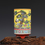 7.1chinese Qing Dynasty Hand Painted Pastel Pine Crane Pen Container